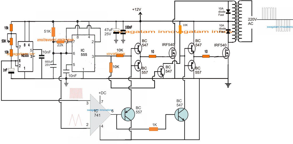 Spwm Inverter Circuit Using Ic 555 Kipr 243 B 225 Land 243