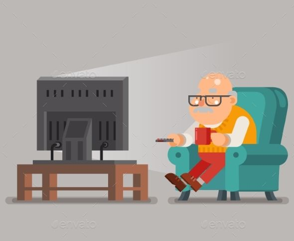 Grandfather Old Man Watching Tv In Armchair Character Flat Design Human Logo Inspiration Character Design