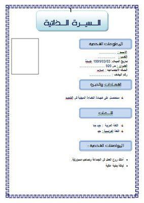 تحميل نموذج سيرة ذاتية باللغة العربية فارغ pdf