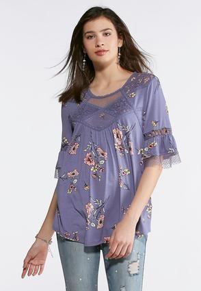 7740397e153 Cato Fashions Plus Size Lavender Floral Mesh Top  CatoFashions ...