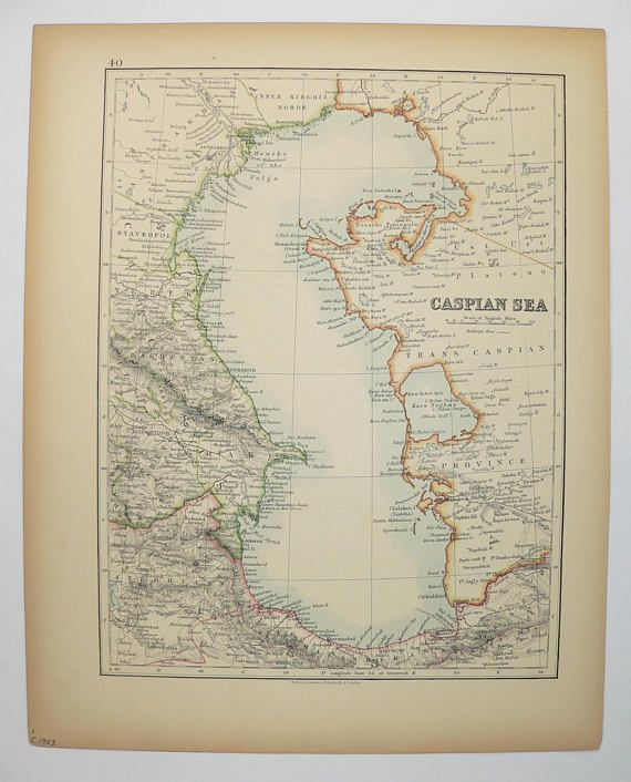 Antique Map of Caspian Sea Astrakhan Map 1903 Vintage Map Russia