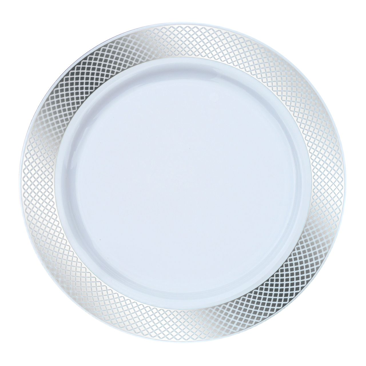 "9"" White/Silver Crystal Plastic Lunch/Dinner Plates ..."