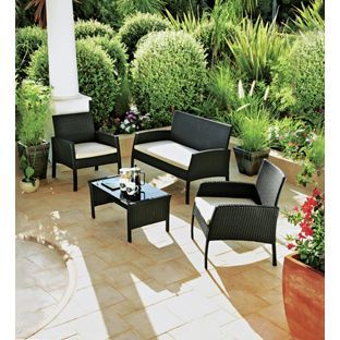 buy rattan effect 4 seater garden patio furniture set black at argosco