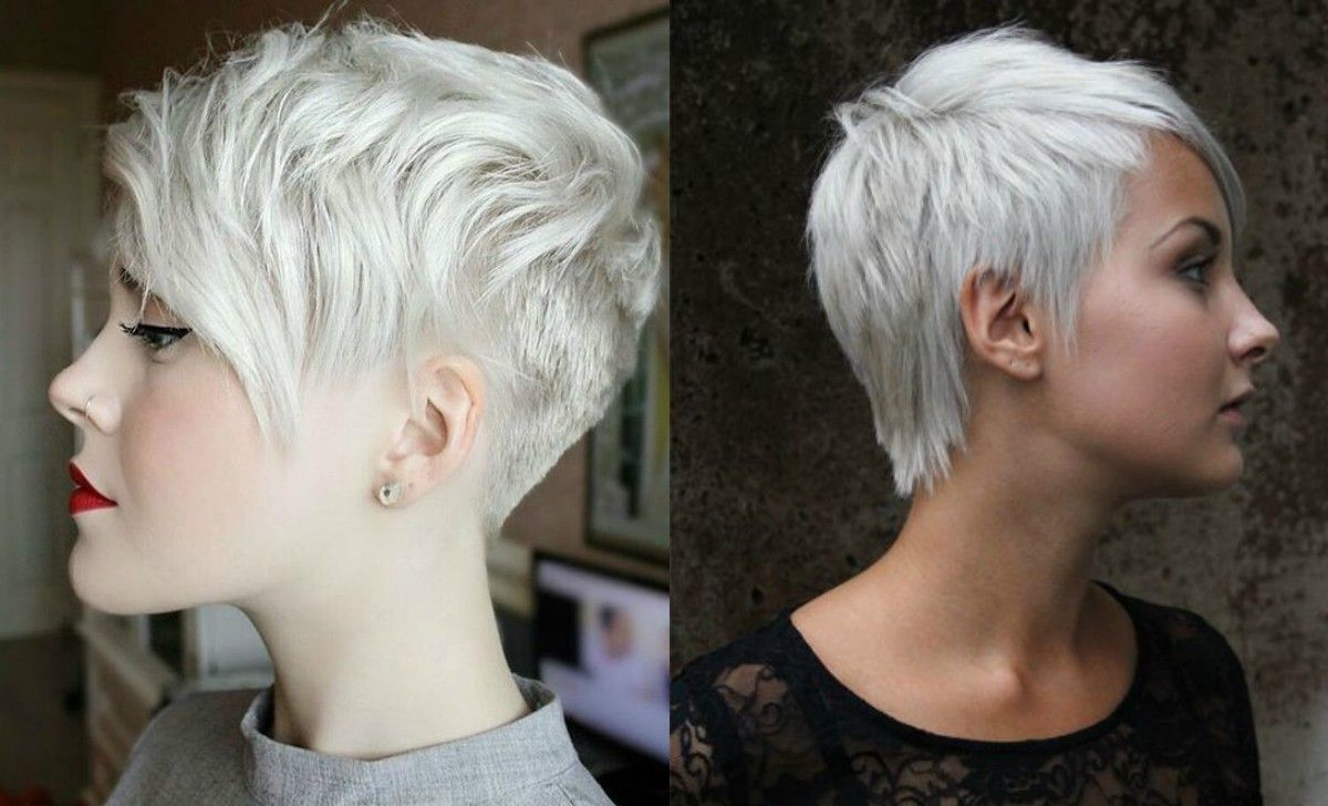 winter fit: extravagant silver pixie haircuts | hairdrome
