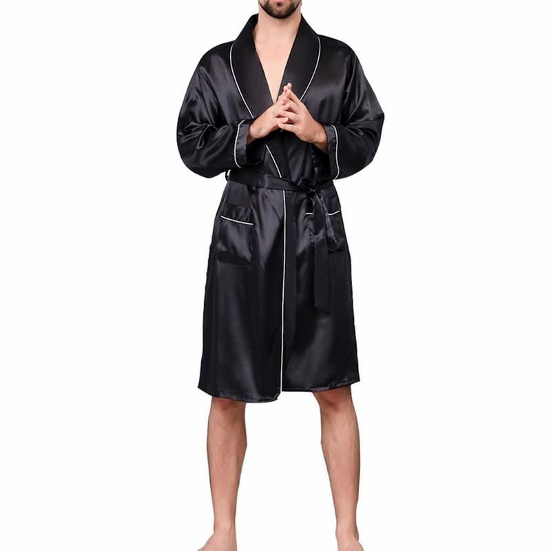 Men/'s Long Satin Robes Pajamas Sleepwear /& Lounge Faux Silk Bathrobes Nightgowns