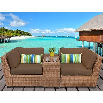 TK Classics Laguna 3 Piece Deep Seating Group with Cushion Fabric: Cocoa