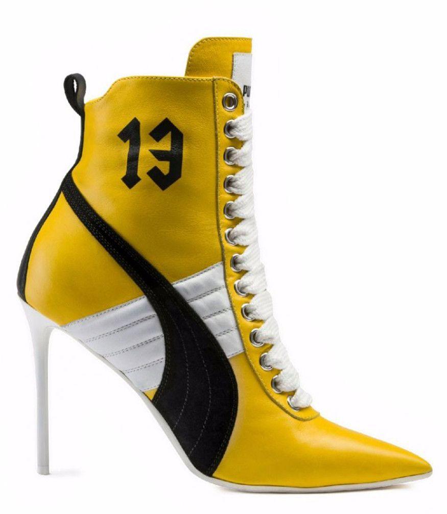 72ca40cdf9de RIHANNA X PUMA Yellow High Heel Leather Sneaker New from FENTY PUMA ...