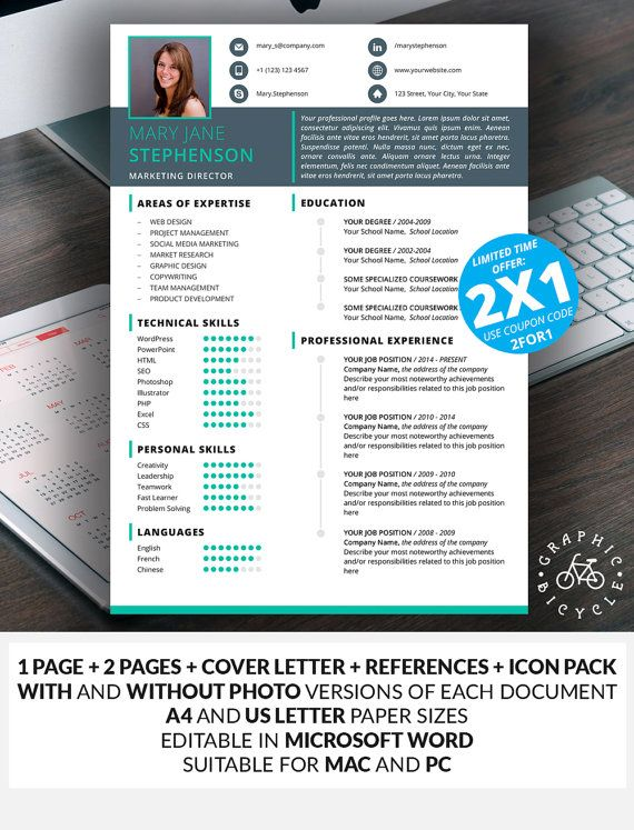 Modern Resume Template for Microsoft Word Cover Letter Template