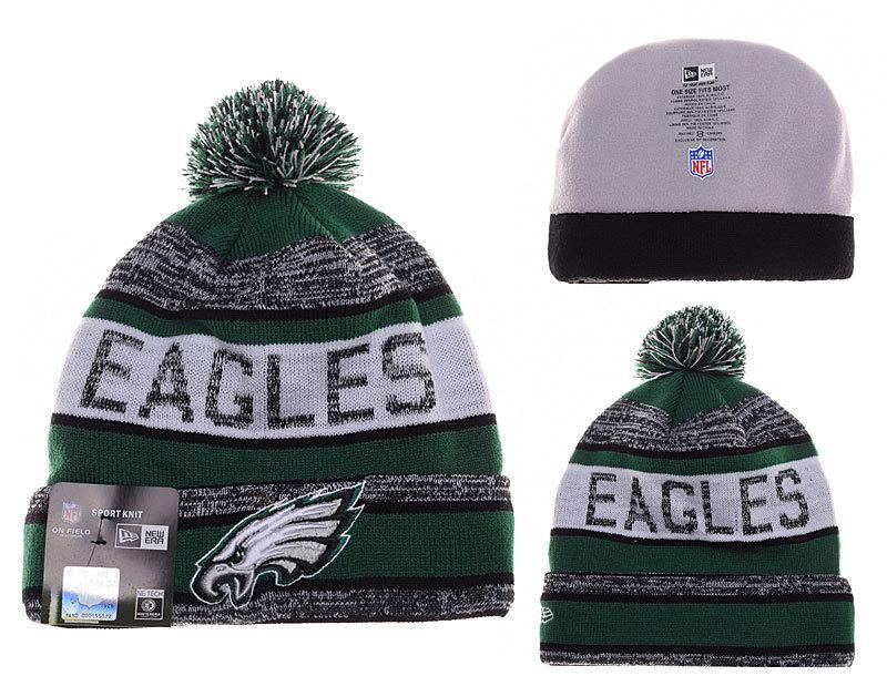 43a5ad4f9 Mens   Womens Philadelphia Eagles New Era 2016 Big Deals NFL Foggy Logo  Striped Knit Beanie Hat With Pom - Grey   Green