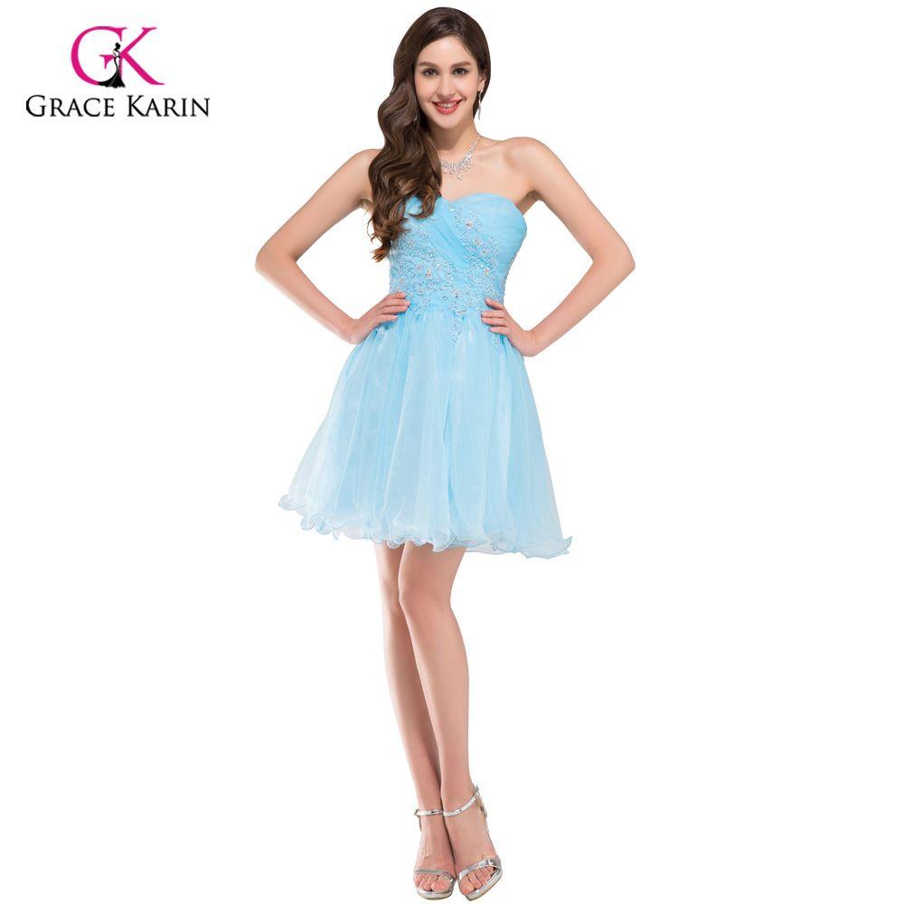 Grace karin blue short crystal cocktail dresses beaded voile