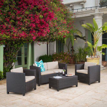 raleigh outdoor wicker 4 piece sofa set multiple colors firepit rh pinterest com
