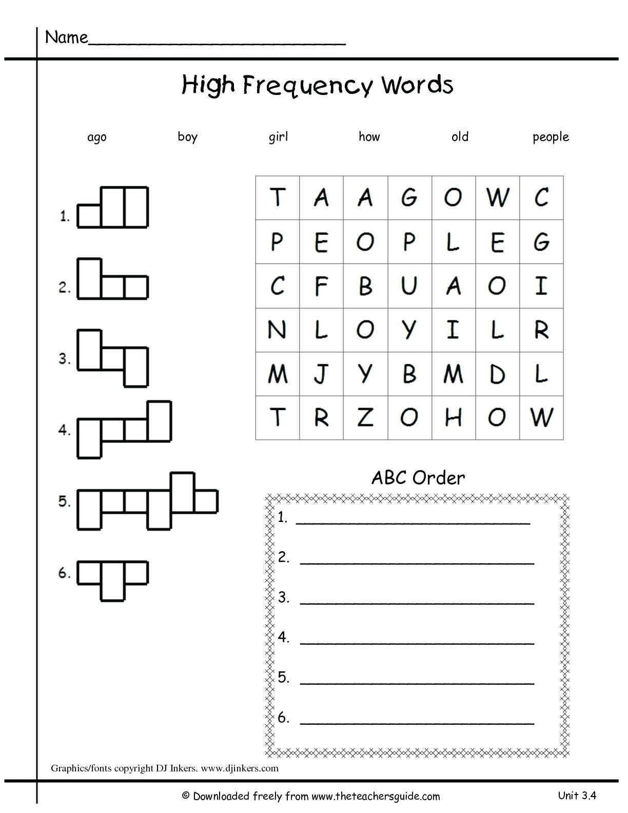 3 Sample Kindergarten Sight Words In