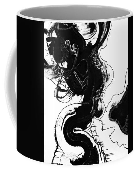 Black And White. Dynamic Abstract Original Art .dramatic Full Of Contrast Coffee Mug featuring the painting The Escape Plan by Expressionistart studio Priscilla Batzell