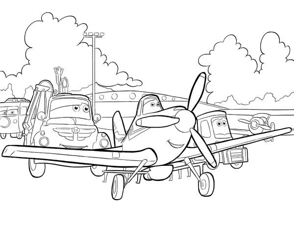 Disney Planes Dusty Chug And Dottie Before The Race In Coloring Page