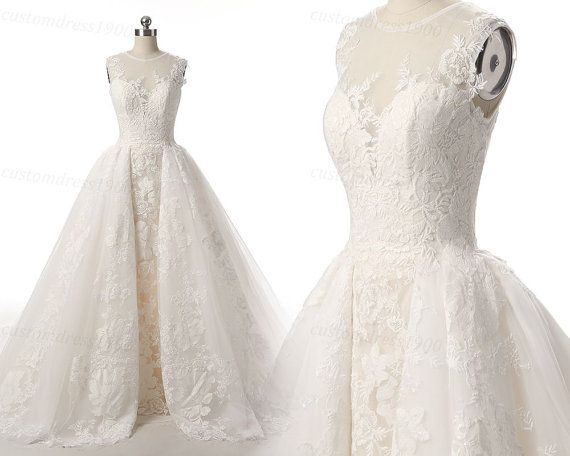 Vintage Lace Wedding Dress 100% Handemade Overskirts Wedding Gowns ...
