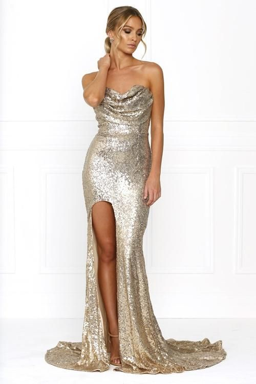 Honey Couture Isabella Gold Strapless Gathered Bodice Insert Sequin