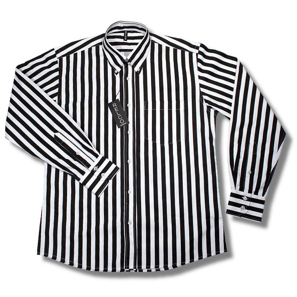 Relco Retro Mod 60's Wide Stripe Button Down L/S Shirt Black White ...