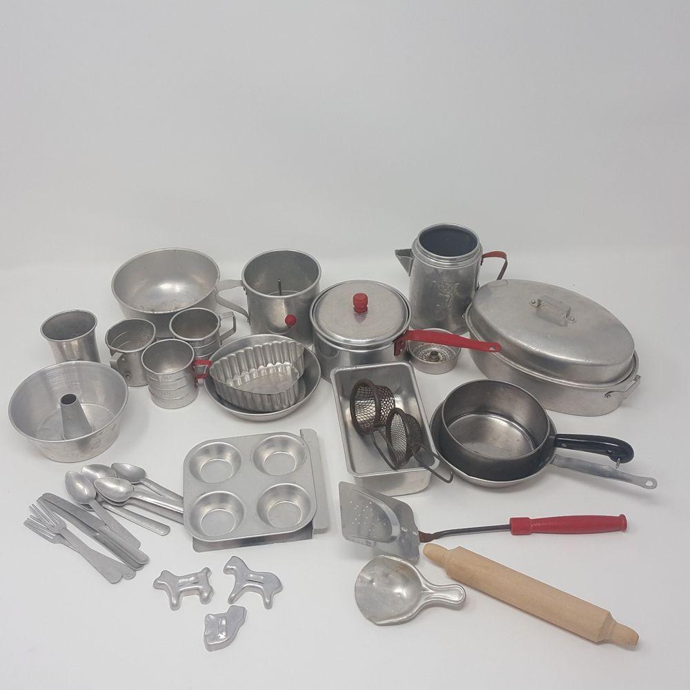 Huge Vintage Child Toy Aluminum Metal Play Kitchen Cookware Pots