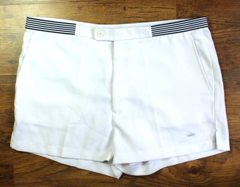 Mens Vintage Shorts 80s Tennis Shorts White Size 38 Summer Festival Retro Mod Tennis Shorts Vintage Shorts Vintage Men