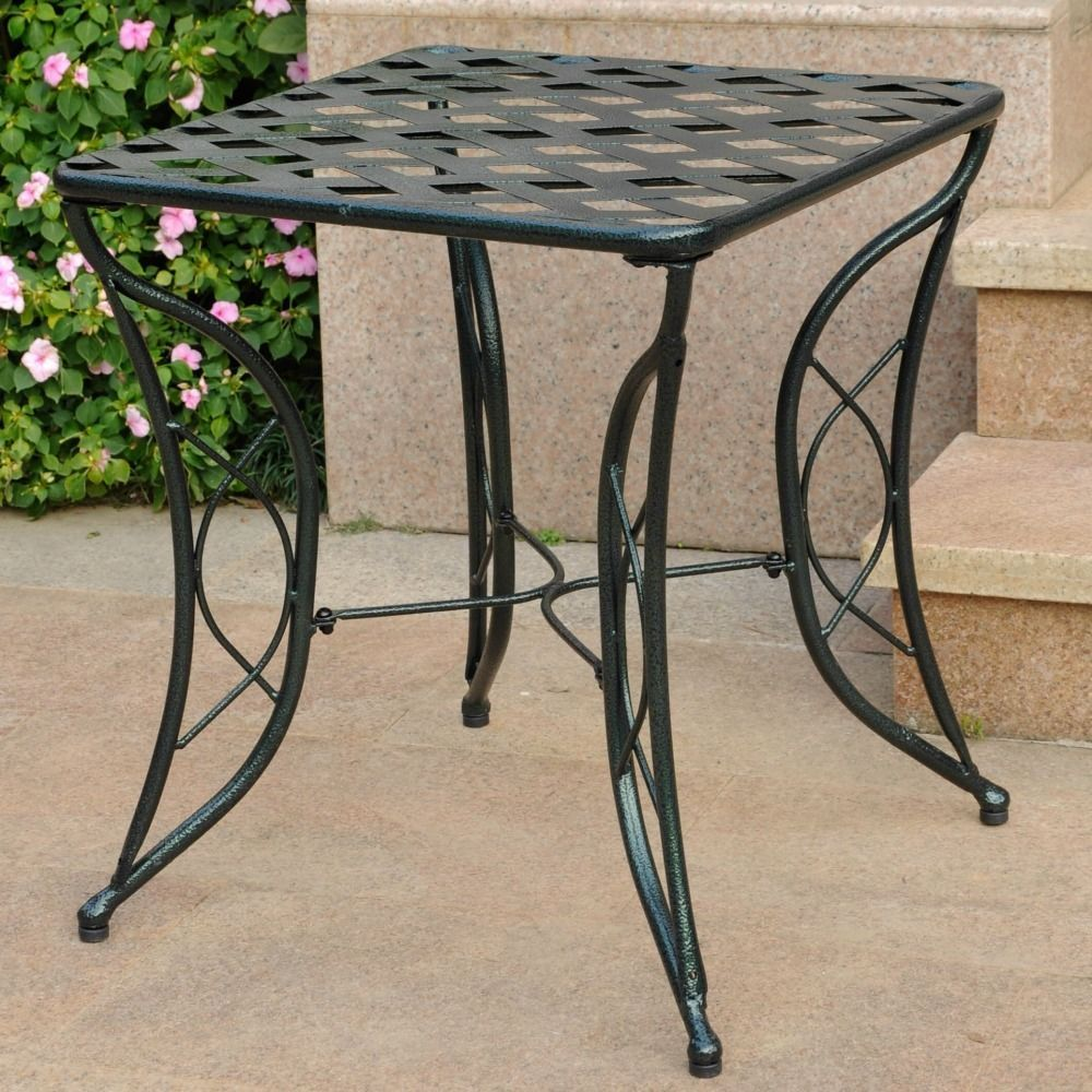 details about side end table iron patio furniture metal decorative
