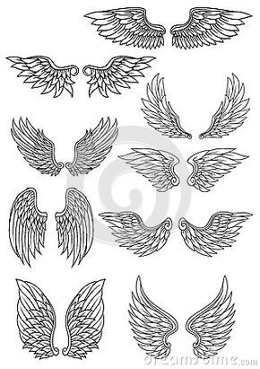 Set Of Outline Heraldic Wings With Images Wings Drawing Wings Sketch Tattoo Drawings