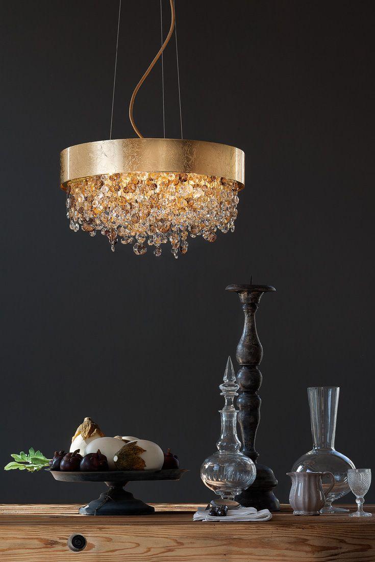 Round Gold Leaf Contemporary Chandelier Juliettes Interiors