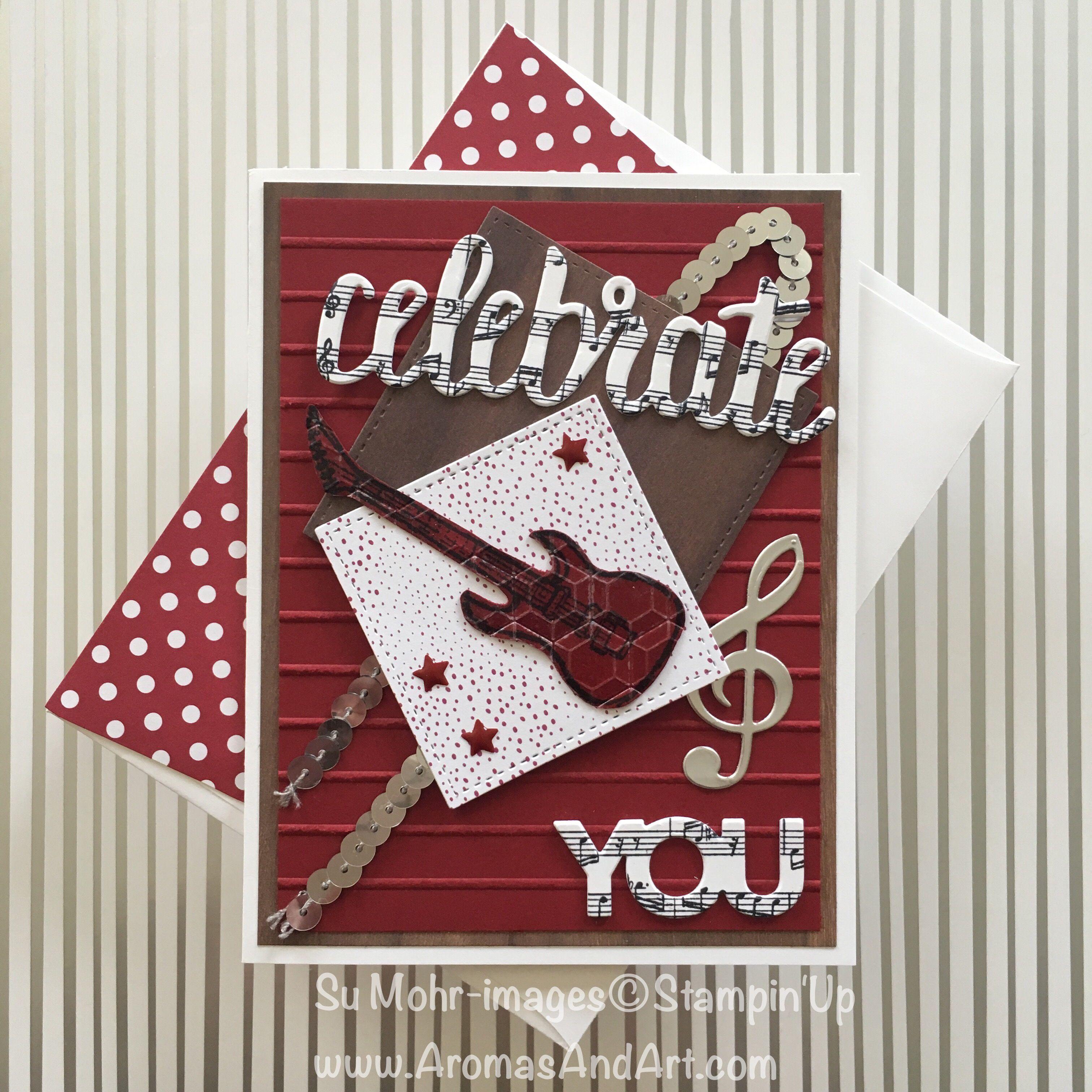 Sumohr Bass Guitar Birthday Card Collage Art Musical Birthday Cards Stampin Up Birthday Cards Birthday Cards