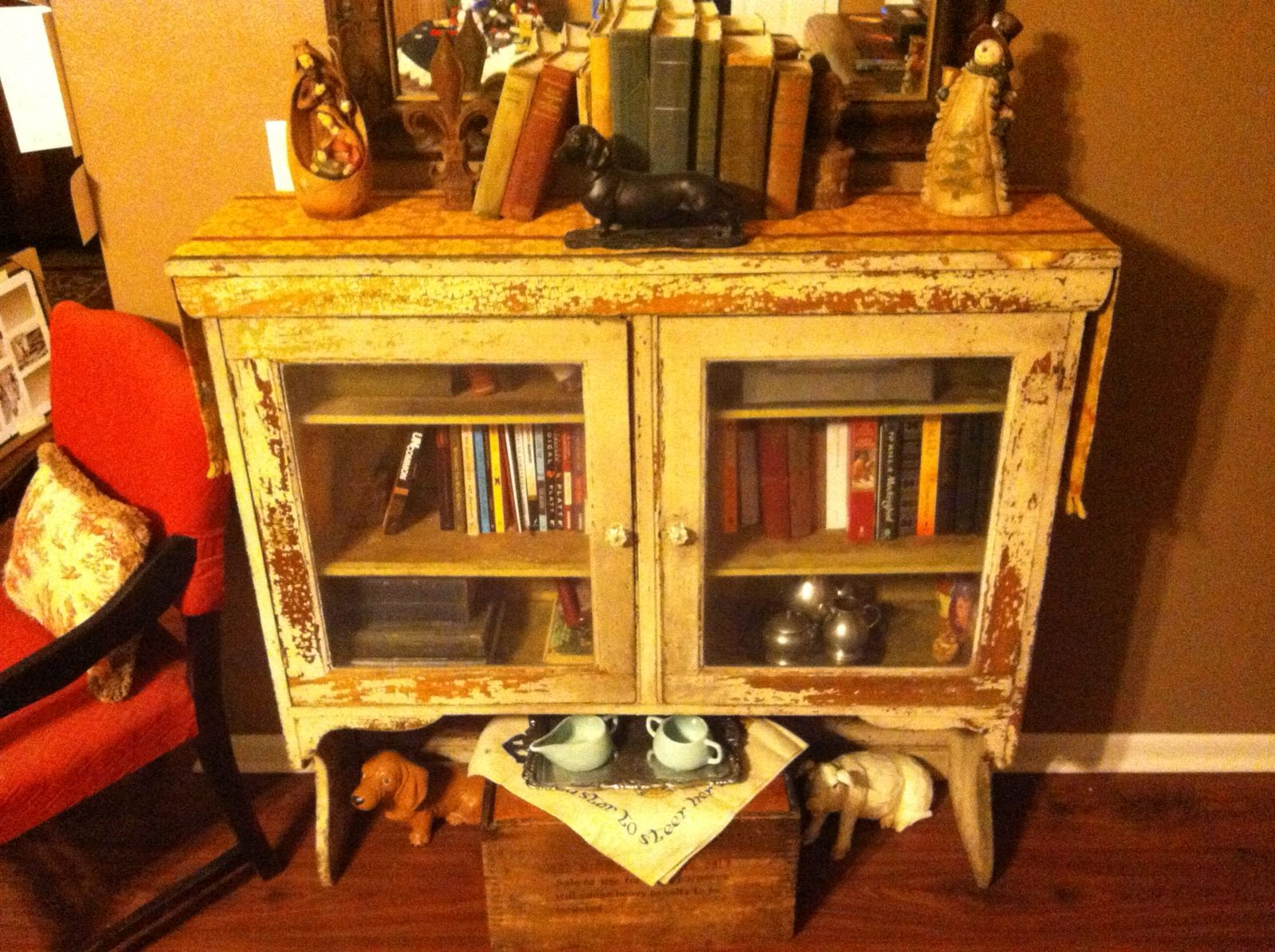Old Kitchen Cabinet Repurposed As A Bookcase Old Kitchen Cabinets Home Decor Repurposed Furniture