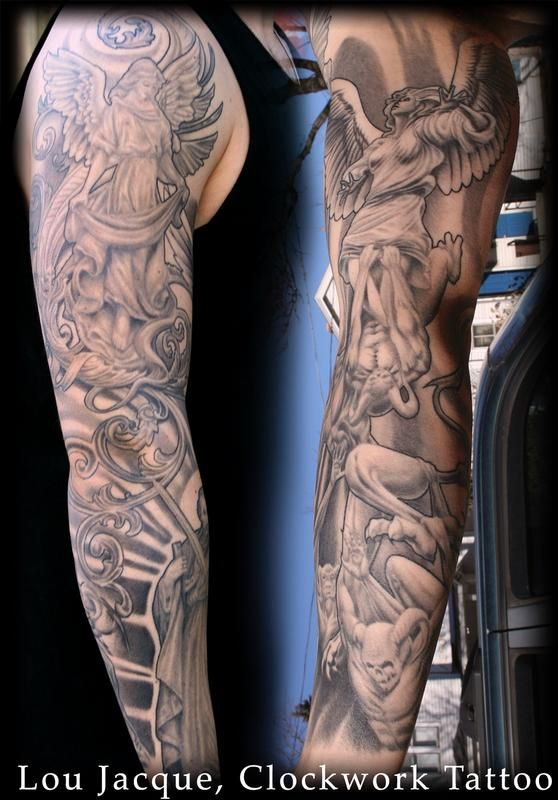 Good And Evil Sleeve Tattoos : sleeve, tattoos, HeavenHell.jpg, (558×800), Tattoos,, Sleeve, Heaven, Tattoos