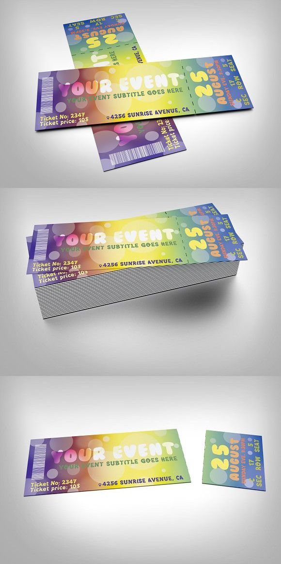 Colorful event ticket Event ticket, Template and Fonts