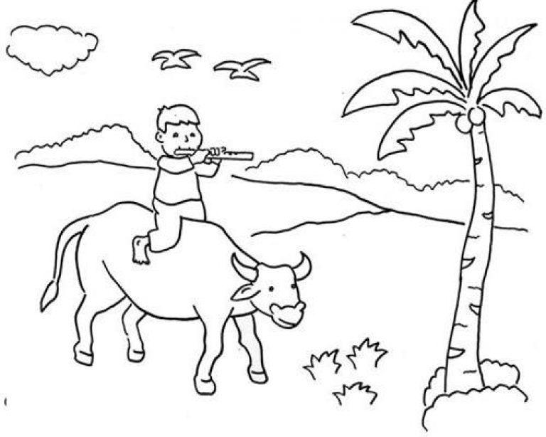 Contoh Gambar Untuk Mewarnai Anak Paud Gambar Pedesaan Ilustrasi Hewan Lukisan