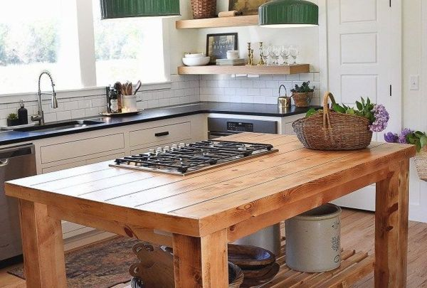 45 rustic wood kitchen island ideas with undeniable charm trenduhome in 2020 outdoor kitchen on outdoor kitchen island id=56458