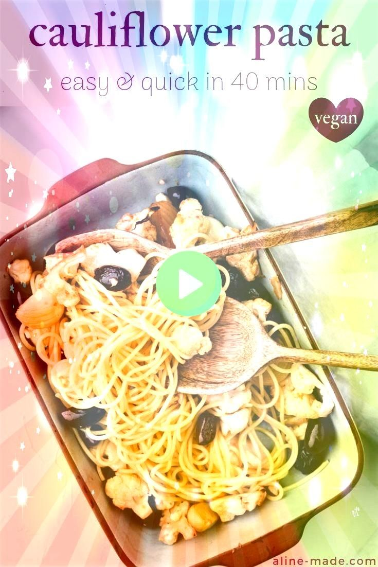 Cauliflower Pasta with Garlic and Olives vegan  Aline Made Oven roasted cauliflower with garlic black olives and onions served with spaghetti  the perfect quick midweek m...