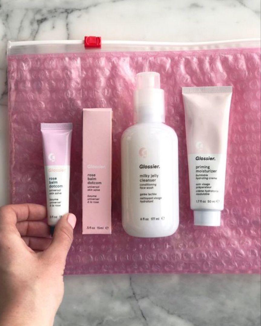 Glossier Beginner Skincare Redonwhite Blog Post Milky Jelly Cleanser Glossier Balm Dotcom Priming Moisturizer