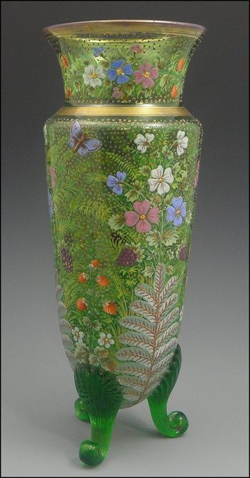 Highly Decorated Moser Vase With Enameled Flowers Ferns Fruit And