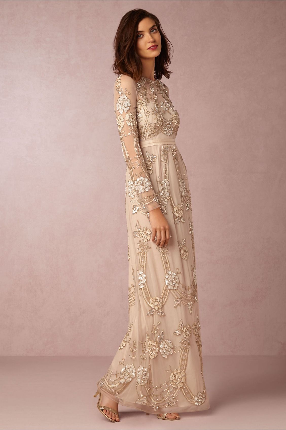 embellished long sleeves | Adona Dress from BHLDN | Beldi ...