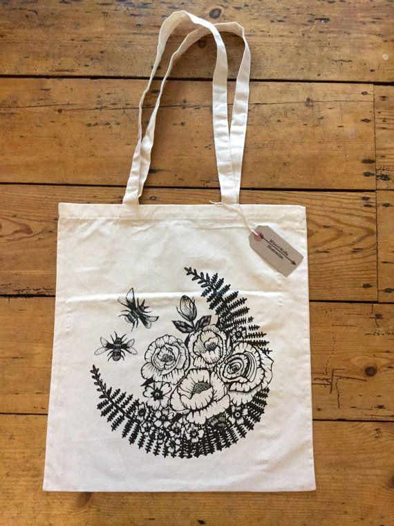 Bees and Roses tote bag, #illustration #totebag #screenprinted #screenprint #vintagerose #tattooart