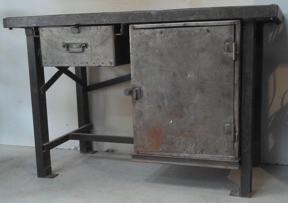 Details Sur Ancien Meuble De Metier Metal Brosse Atelier Industriel Etabli Loft Usine Tole Meuble De Metier Atelier Industriel Industriel