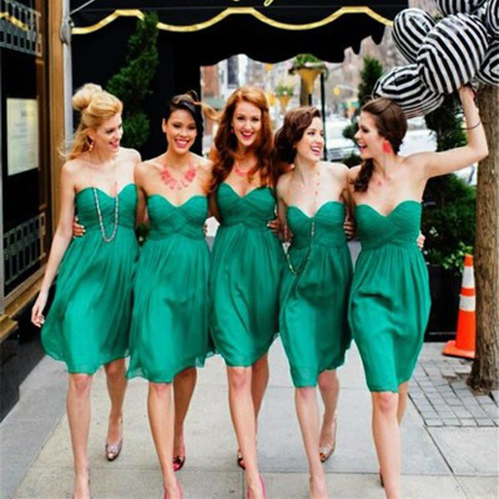 Simple cheap chiffon sweet heart knee length green bridesmaid simple cheap chiffon sweet heart knee length green bridesmaid dresses for summer beach wedding party ombrellifo Images