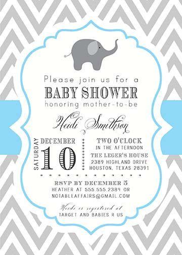 Gray and Ice Blue Chevron with Elephant Baby Boy Shower Invitation ...