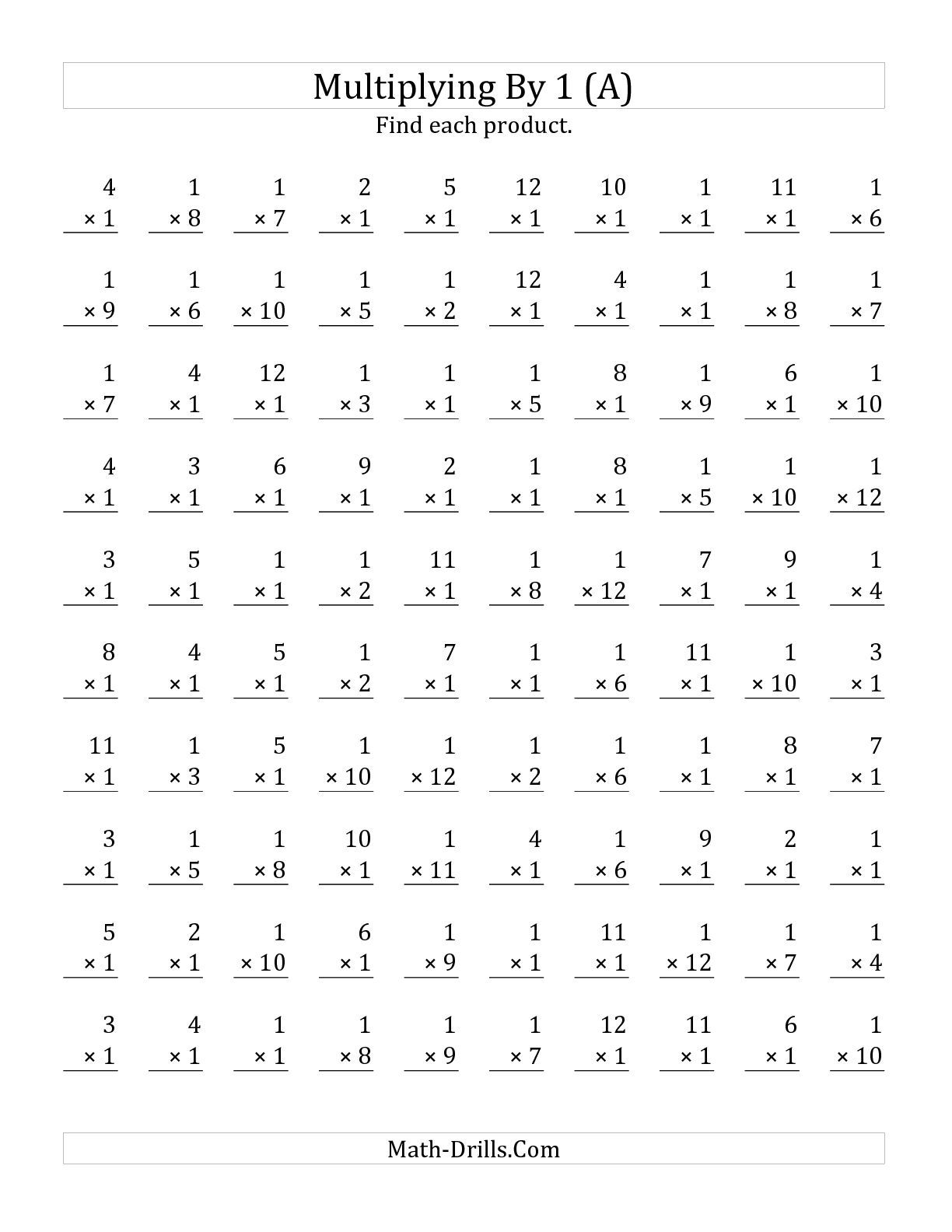 The Multiplying 1 To 12 By 1 A Math Worksheet From The Multiplication Worksheet Page At Math
