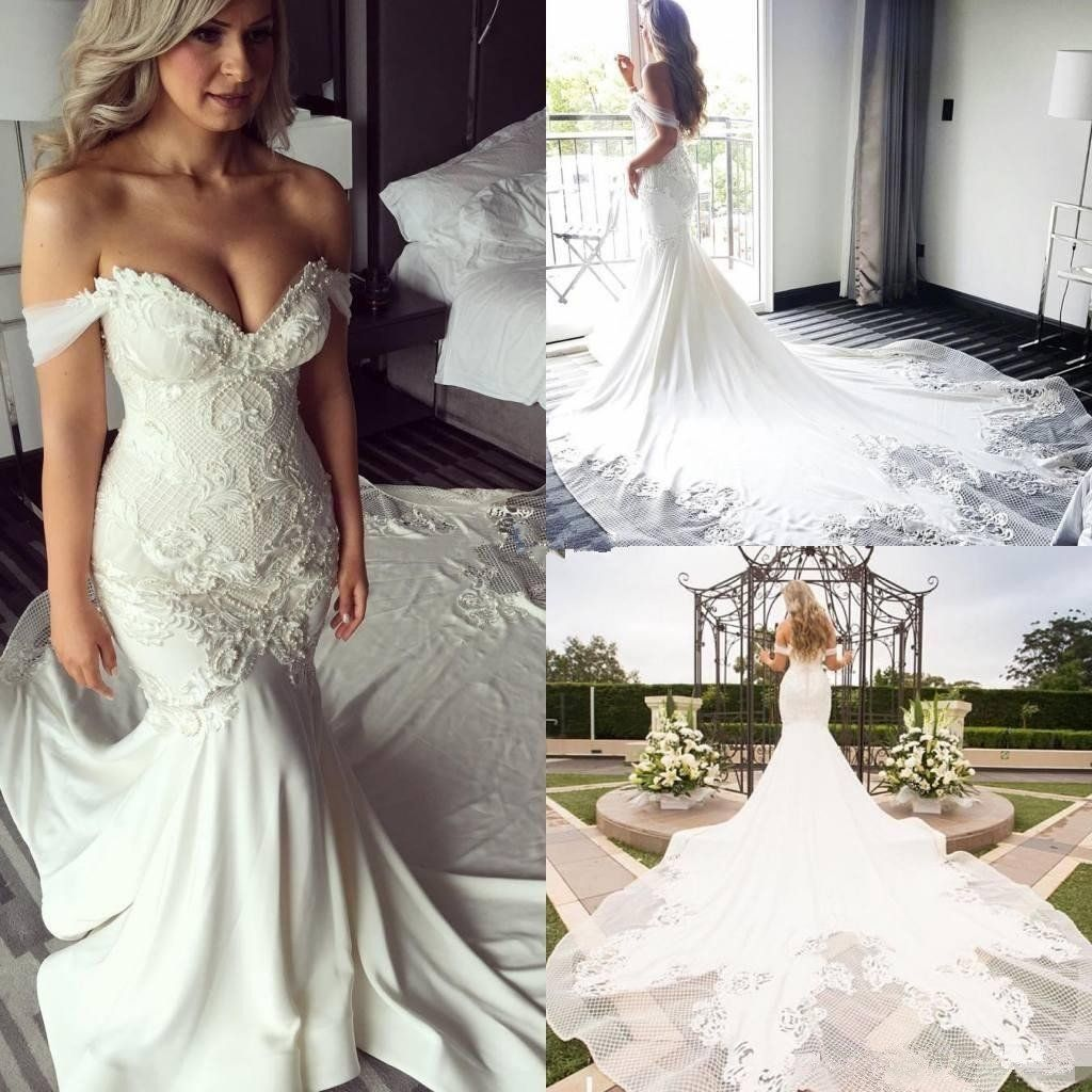 41cfbedc52d5 Elegant Modest Mermaid Off Shoulder Lace Appliques Sexy Wedding Dresses  with train, WD0354