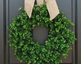 Photo of MOST PINNED Wreath on PINTREST !! Welcome Boxwood Wreath, Artificial Boxwood Wreath, Hello Boxwood Wreath, Hello Wreath,