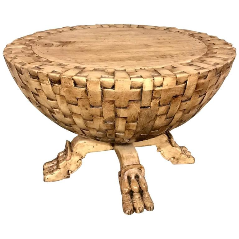 Basket Weave Side Table With Animal