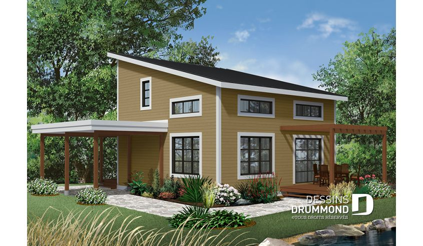 Decouvrez Le Plan 3968 Noyo Qui Vous Plaira Pour Ses 2 Chambres Et Son Style Chalet Cheap House Plans Affordable House Plans Cheap Houses To Build