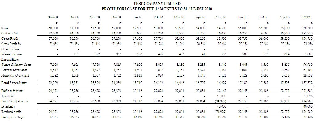 Cash Flow  Month Profit And Loss Report  Business Planning