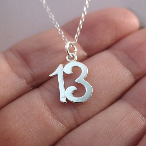 Thirteen 13 Number Charm Necklace In Sterling Silver Silver Earrings Outfit Silver Necklace Minimalist Necklace Silver