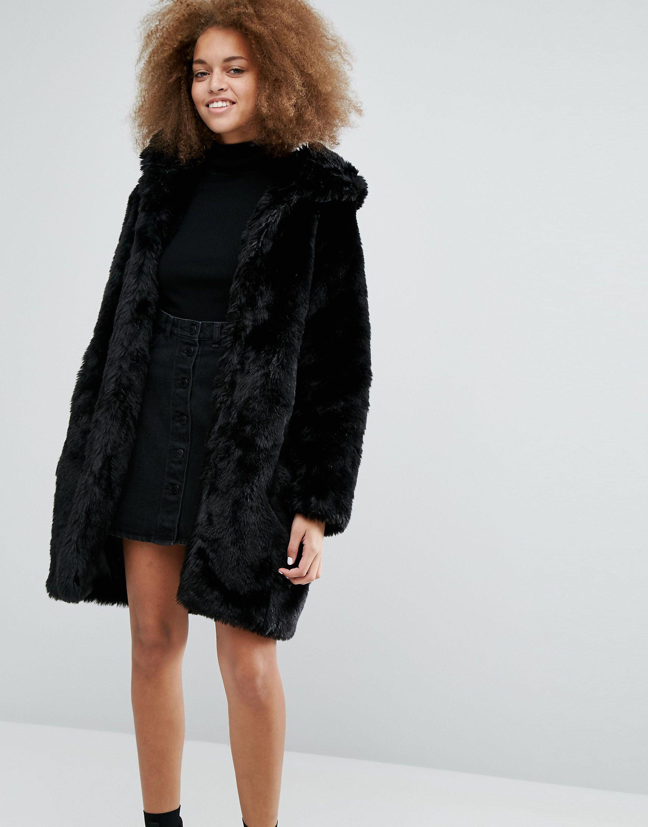 99f48299792a Monki Faux Fur Hooded Coat | Furry Friends | Faux fur hooded coat ...