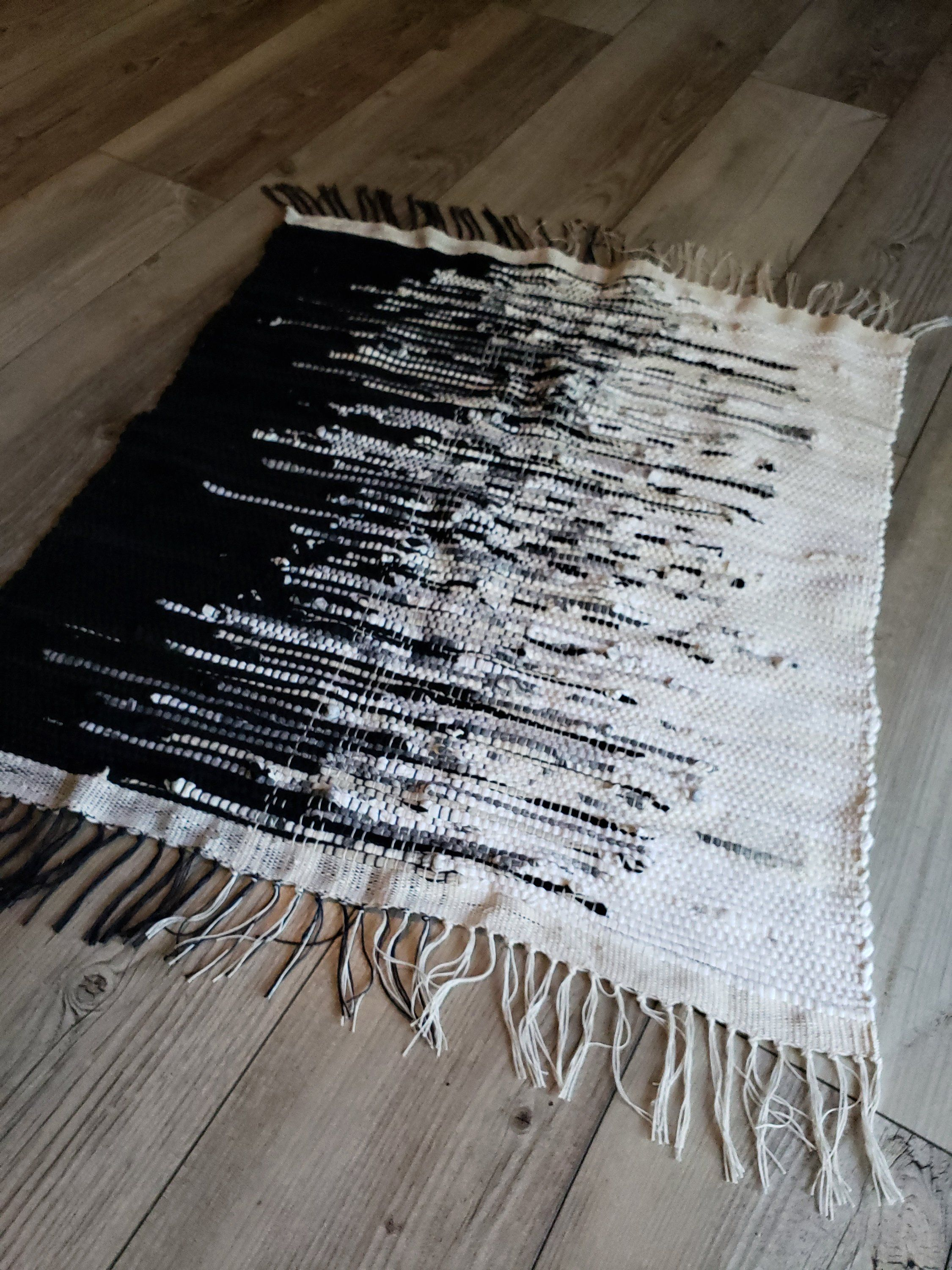 Black, white with mixed grey in the center handwoven rag rug ...