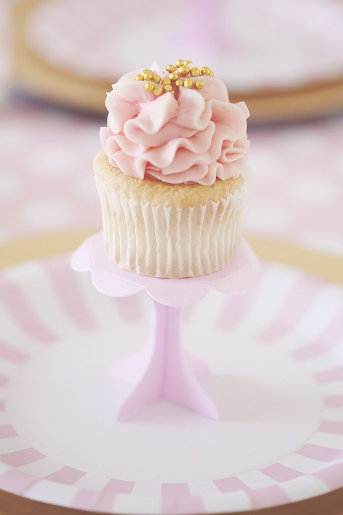 Pink Gold Party Scarletts 1st Birthday Party Cupcake